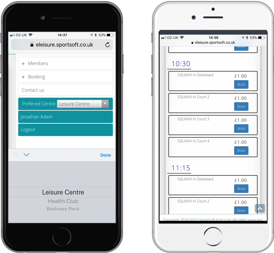 New online bookings and membership system developed, responsive to all handheld devices